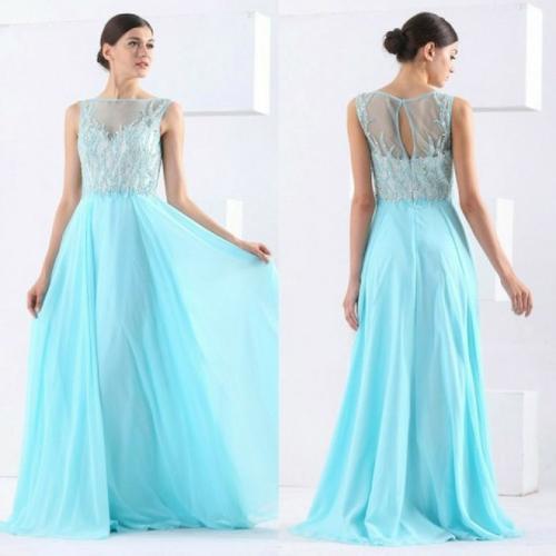 Elegant Sleeveless Sheer Neck Handmade Evening Party Dress