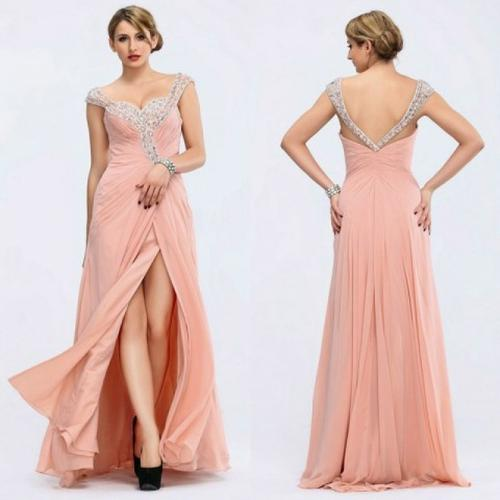 Front Split Handmade Beading Crystal Bridesmaid Dress Prom Gown