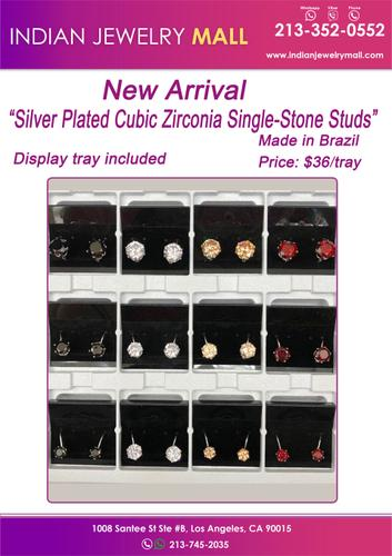 """New Arrival """"Silver Plated Cubic Zirconia Single-Stone Studs"""" Made in Brazil"""