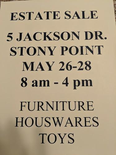 ESTATE SALE - 5 Jackson Drive, Stony Point, NY, May 26-28, 8-4