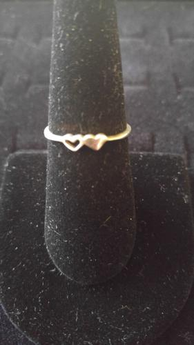 STERLING SILVER DOUBLE HEART RING SIZE 7