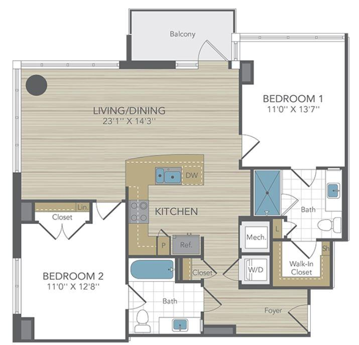 $7620 Two bedroom Apartment for rent