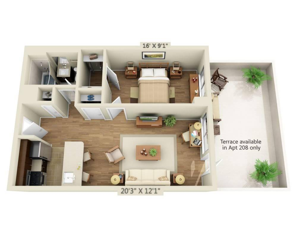 $4821 One bedroom Apartment for rent