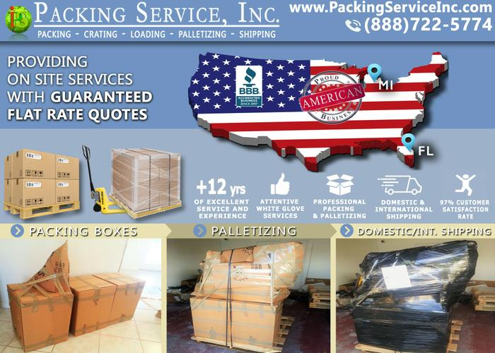 Packing Sevice, Inc. - Palletizing Boxes, Crating & Shipping Services, on-site Custom Crates