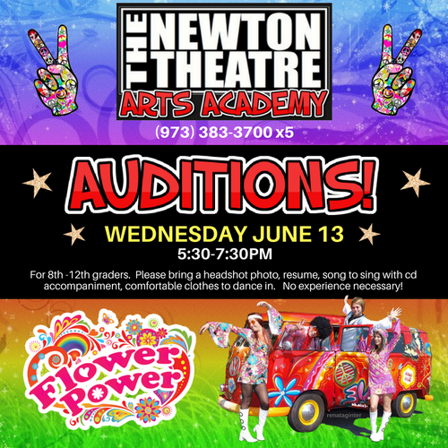Auditions for Flower Power Musical Theatre Workshop for Teens at the Newton Theatre!!