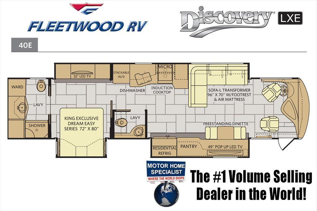 2018 Fleetwood Discovery LXE 40E Bath & 1/2 RV for Sale at MHSRV W/Sat