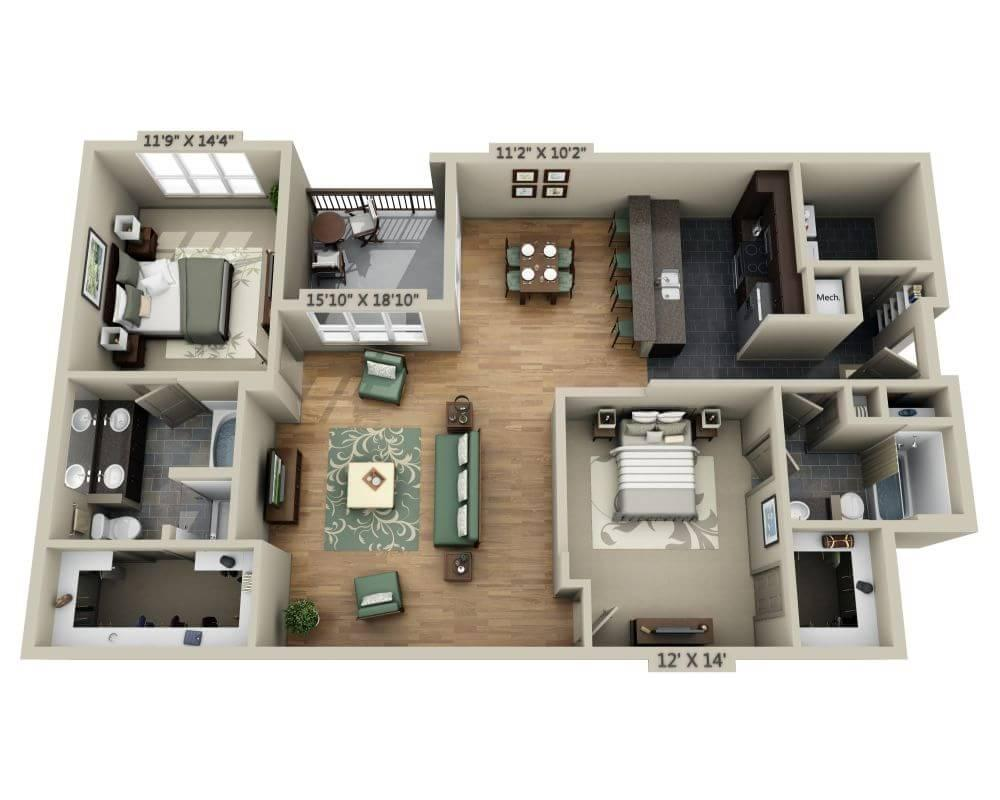 $1726 Two bedroom Apartment for rent