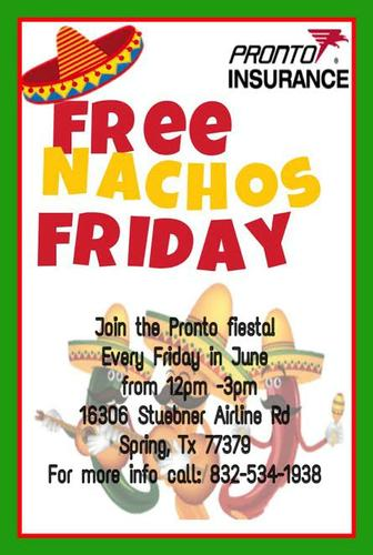 FREE NACHOS EVERY FRIDAY IN JUNE