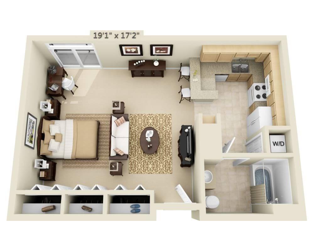 $1921 Studio Apartment for rent