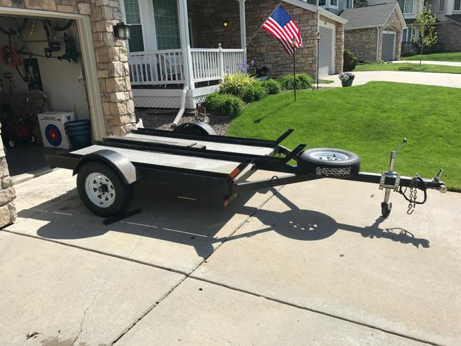 CUSTOM HAND BUILT  3 RAIL MOTORCYCLE  TRAILER