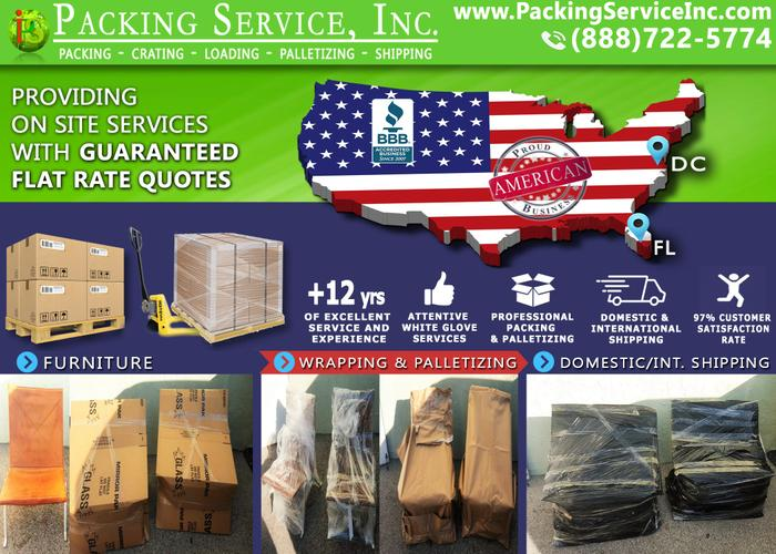 Fort Lauderdale, FL - Crating Company,  Shrink Wrap Palletizing and Shipping  - Packing Service, Inc