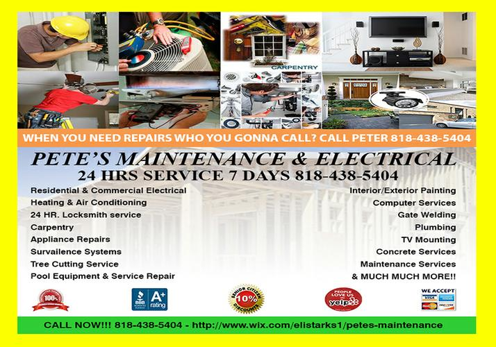 ELECTRICIAN ON CALL 24HRS 7 DAYS ALSO ON HOLIDAYS 818-438-5404