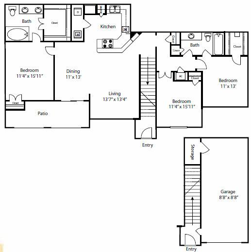 $1518 Three bedroom Apartment for rent