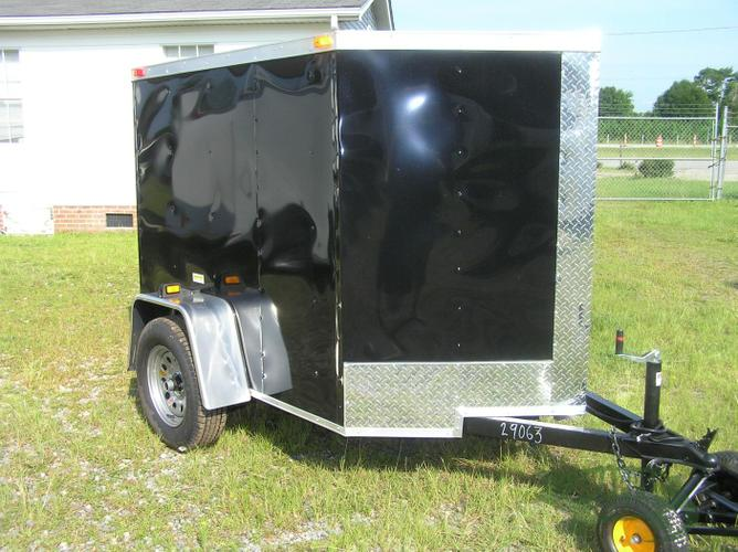 New 5x6 Enclosed Cargo Trailer with Rear Ramp and V-Nose Style Front