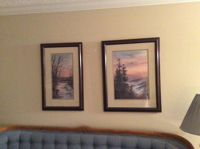 CUSTOM FRAMED PAINTINGS OF SMOKEY MTS.  SIGNED BY ROBERT A TINO