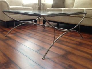 Glass Top Coffee Table w/ Iron Base