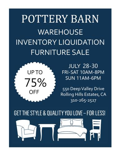 July 28-30 Pottery Barn Palos Verdes Warehouse Sale – Up to 75% OFF