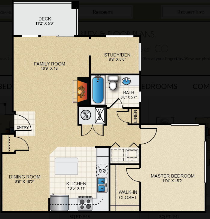 $1407 One bedroom Apartment for rent