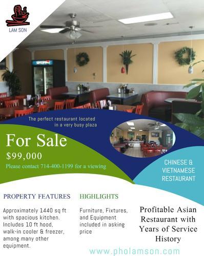 Profitable Asian Restaurant for Sale