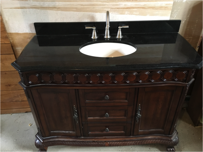 SOLID CHERRY WOOD W/ MARBLE COUNTERTOP AND MOEN FAUCET