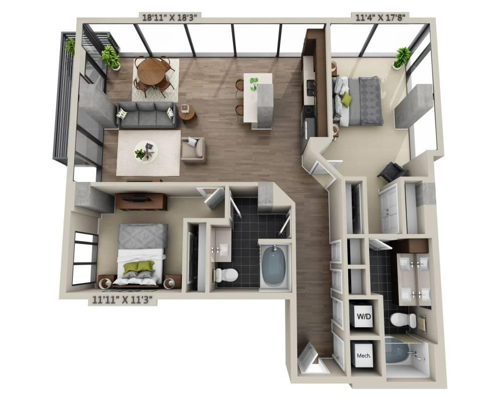 $5499 Two bedroom Apartment for rent