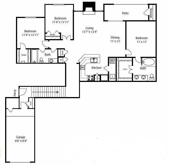 $1836 Three bedroom Apartment for rent
