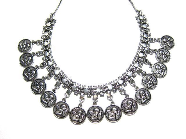 Vinatge Choker Silver Carving Metal Coin Statement Necklaceatement Necklace