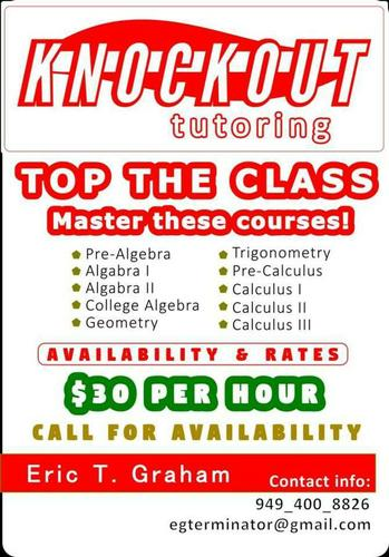 **Offering Math & Science Tutoring (Irvine AND Tustin, CA)**