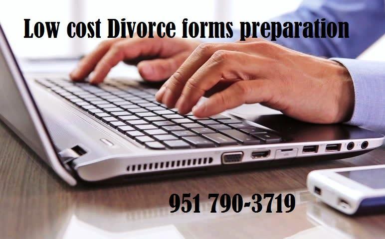 Servicio de preparacion de documentos y formas legales a bajo costo, divorcio barato en California
