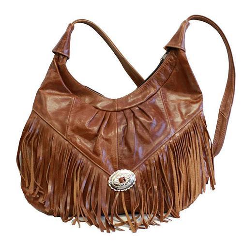Large Soft Leather Brown Hobo Shoulder Bag Purse with Fringe