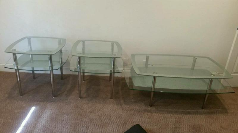 Glass coffee table and two end tables