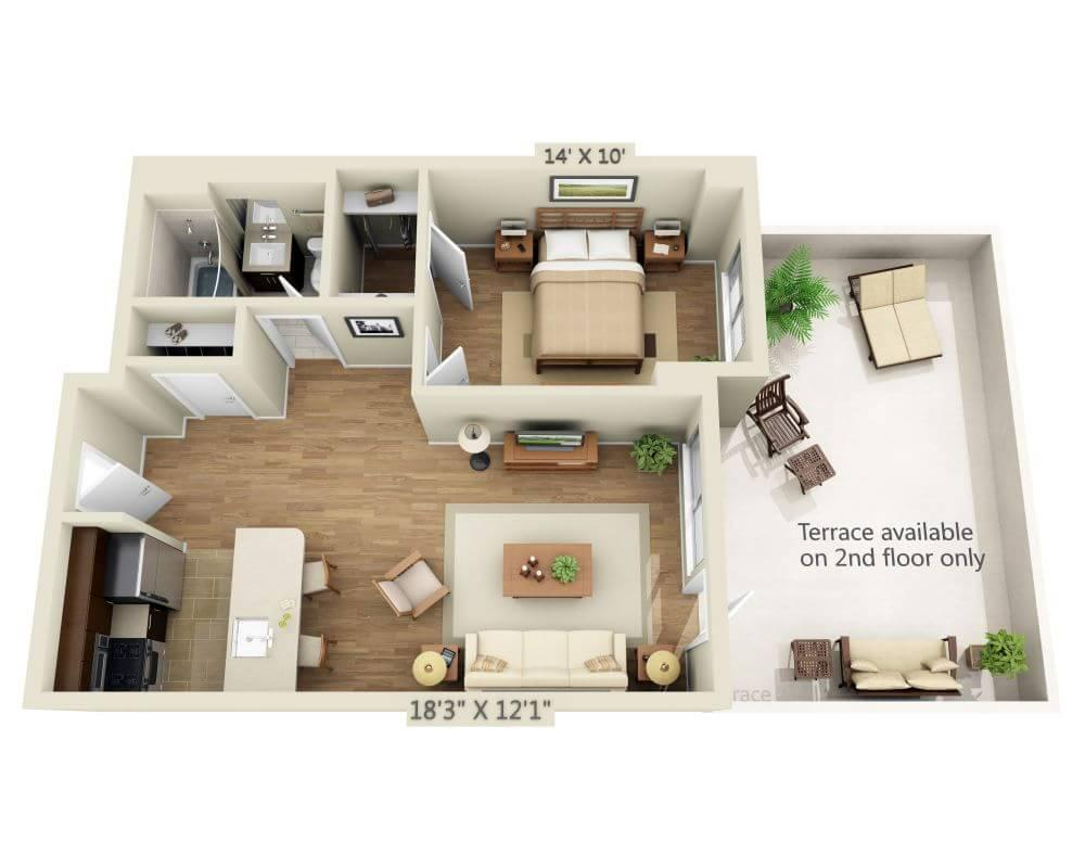 $4322 One bedroom Apartment for rent