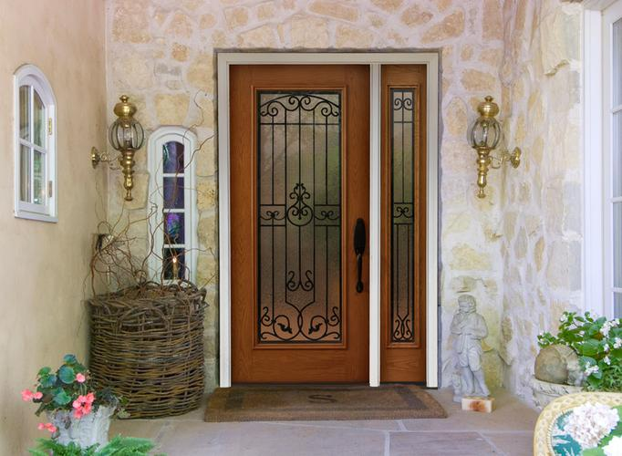 Wood entry doors with glass