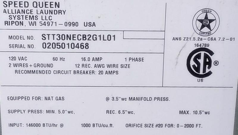 Speed Queen STT30NEC Stack Dryer