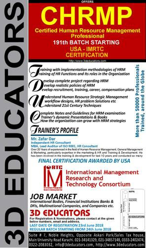 CHARMP Certified Human resources management professinol course offerd by 3D Educators