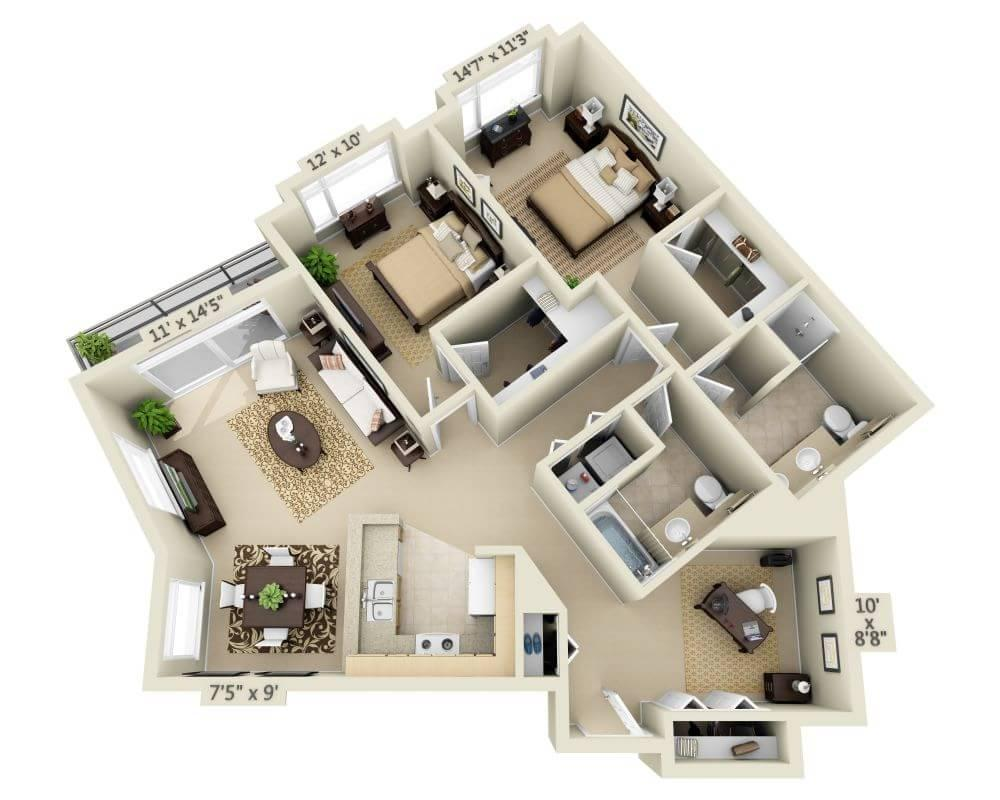 $3348 Two bedroom Apartment for rent