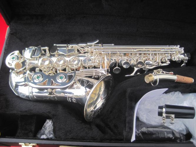 new LA Sax Kim Waters Signature Model Curved Soprano Saxophone, in a Gorgeous Silver Plate Finish, B