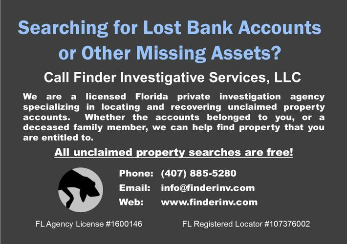 Searching for Lost Bank Accounts and Other Missing Money?