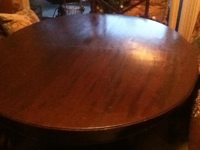 Antique Vintage Dark Solid Wood Claw Pedestal Slide Leaf Oval Dining Table
