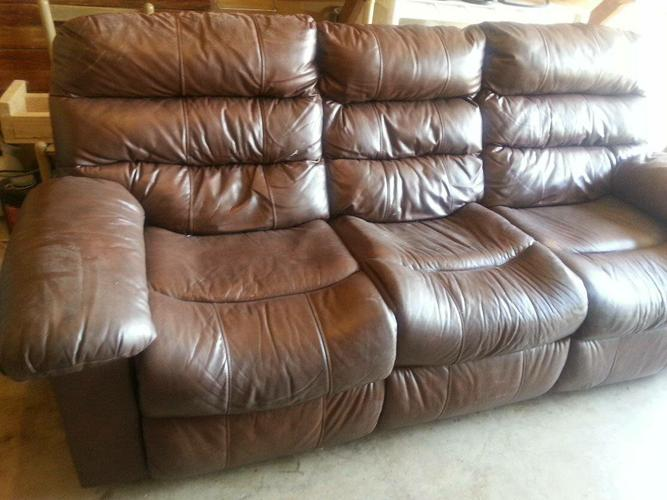 Set of Brown Genuine Leather Couches - Good Used Condition
