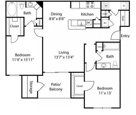 $1094 Two bedroom Apartment for rent