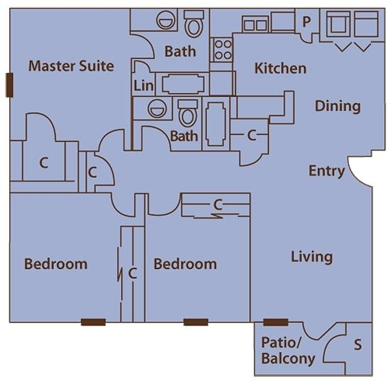 $1616 Three bedroom Apartment for rent