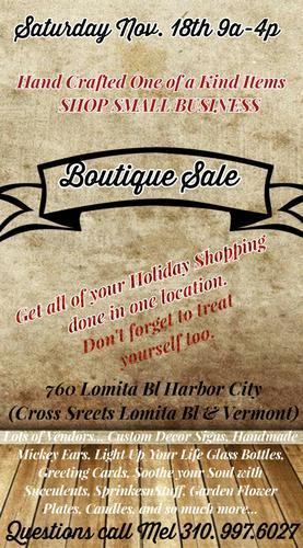 HOLIDAY BOUTIQUE SALE /HANDCRAFTED ITEMS THIS SATURDAY