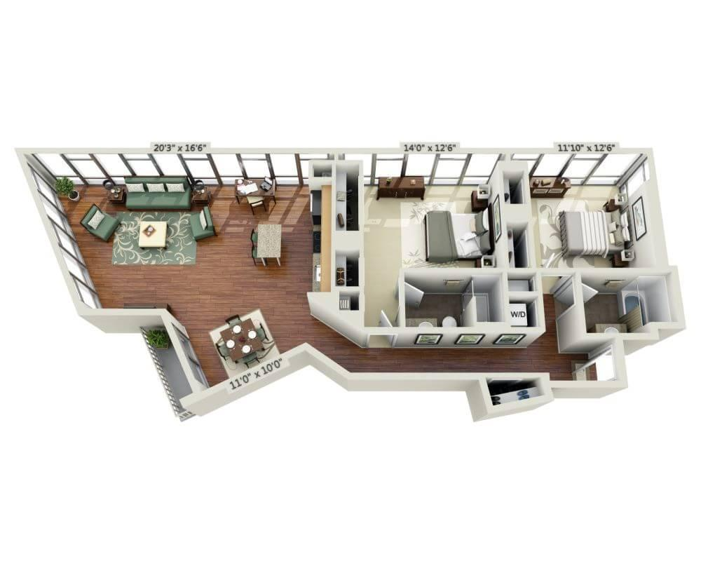 $3534 Two bedroom Apartment for rent