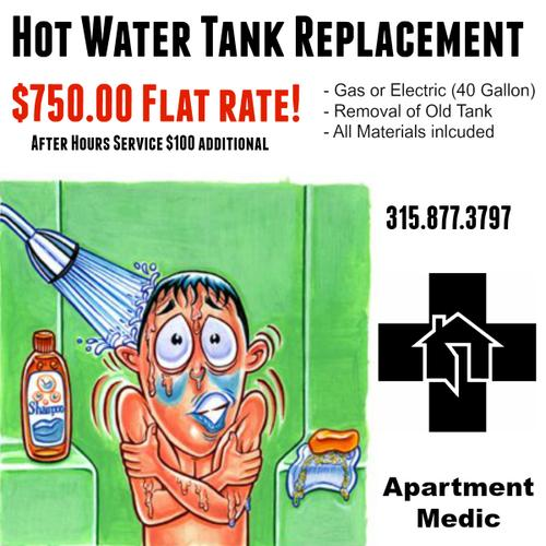 Hot Water Tank Install - 750.00 Flat Rate. (40 gal , gas or electric)