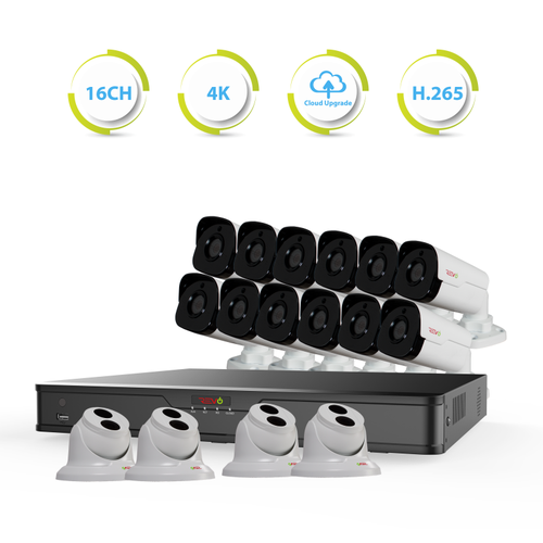 Ultra HD 16 Ch. 4TB NVR Best Surveillance System & 16 Security Cameras