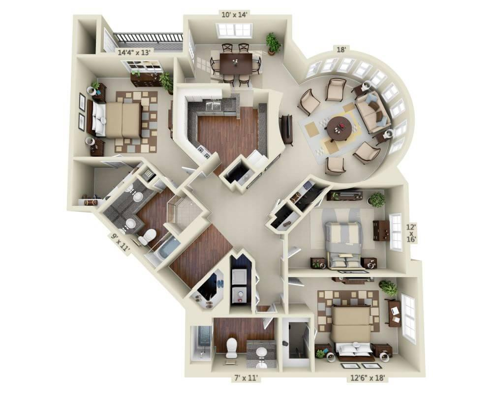 $4684 Three bedroom Apartment for rent