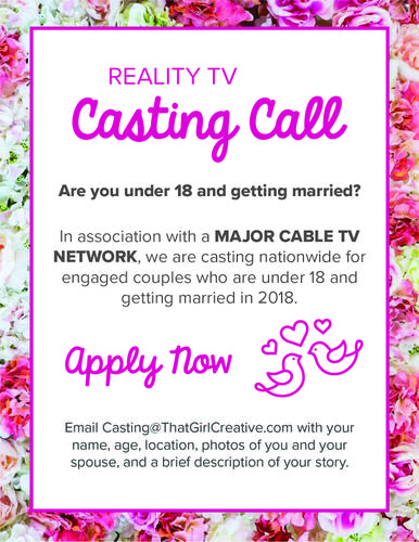 Reality TV Casting Call: Teenagers Getting Married