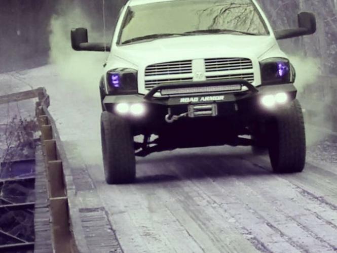 Dodge 1500 Ram 06-08 Front Stealth Winch Bumper Round Light Port Pre-Runner Guard Black
