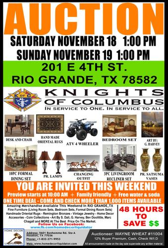 ***AUCTION*** KNIGHTS OF COLUMBUS - Everything Must Go In 2 Days
